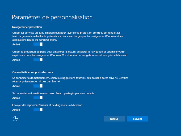 options de confidentialité lors de l'installation de windows 10
