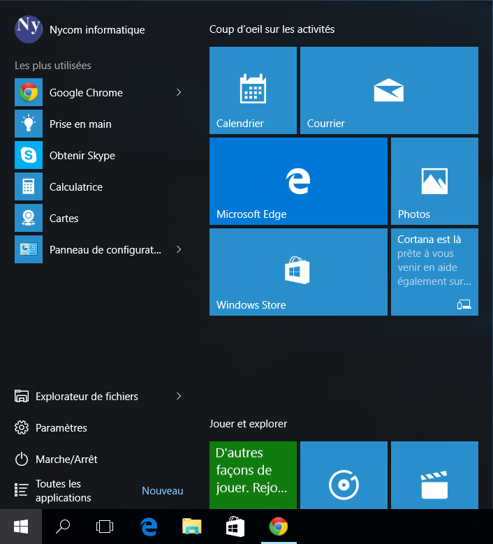 menu démarrer windows 10